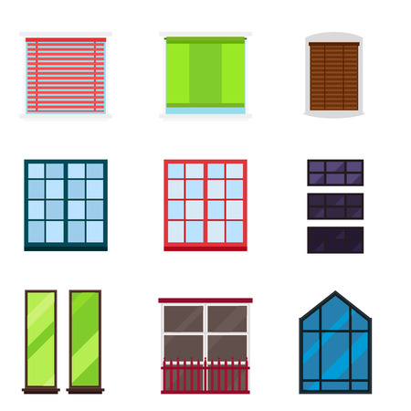 Different types house windows elements isolated set flat style frames domestic door double construction and contemporary decoration apartment vector illustration. Architectural design. Illustration