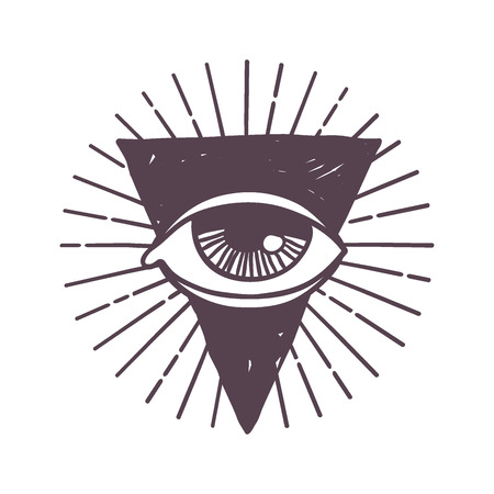 Esoteric eye rune symbol vector illustration.
