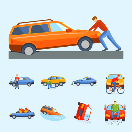 involving: Car crash collision traffic insurance safety automobile emergency disaster and emergency disaster speed repair transport vector illustration. Auto accident involving broken transportation.