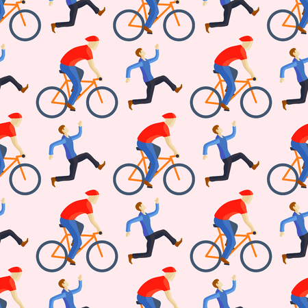 Racing cyclist in action fast road biker seamless pattern from side front view vector illustration. Athlete sport competition motion summer rider character. Fitness pedal transport.