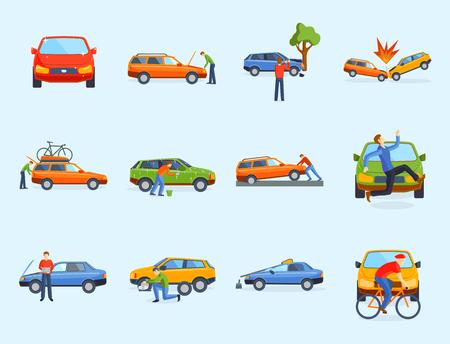 Il disastro di emergenza dell'automobile di sicurezza dell'assicurazione del traffico di collisione di incidente stradale e la riparazione di velocità di disastro di emergenza trasportano l'illustrazione di vettore. Incidente automobilistico che coinvolge il trasporto rotto