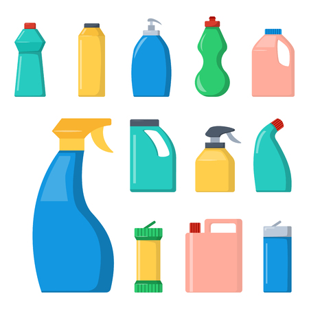 Grupo de botellas de artículos domésticos domésticos de limpieza y limpieza de limpieza de plástico líquido de limpieza de líquido de la botella de líquido de la botella de spray de vectores ilustración . Foto de archivo - 86969077