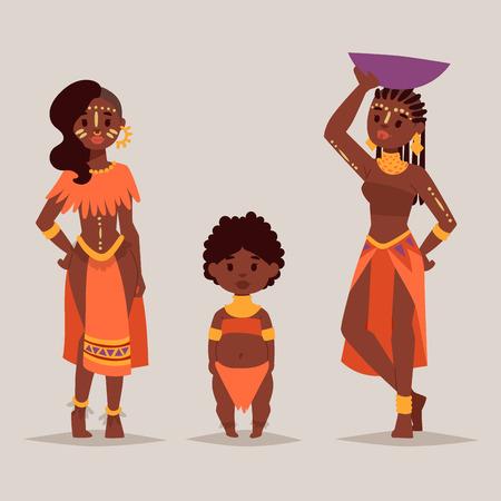 전통적인 의류에 마사 이족 아프리카 사람들 행복한 사람이 가족 벡터 일러스트 레이 션.