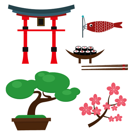 Japan landmark travel vector icons collection culture sign design elements travel time vector illustration. Asian decorative famous sign.