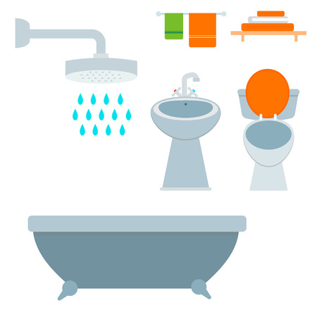 Bath equipment icon toilet bowl bathroom clean flat style illustration hygiene design. Isolated vector symbols of mirror, toilet sink shower soap towel faucet.
