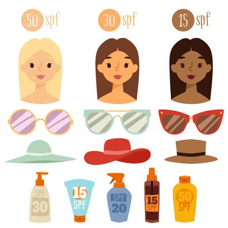 Beach accessories summer hats collection vector fashion beach travel beautiful tropical lifestyle people illustration. Human avatars cute woman degree of sunburn.