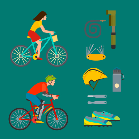 cycling helmet: Active casual transportation fun accessories set. Urban biking sport and equipment lifestyle cycling flat vector. Cartoon bicycle equipment icon illustration.