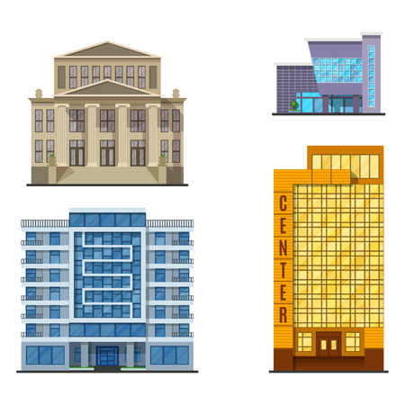 City buildings modern tower office architecture house business apartment home facade vector illustration. Modern cityscape construction exterior urban downtown design. Stok Fotoğraf - 87051240
