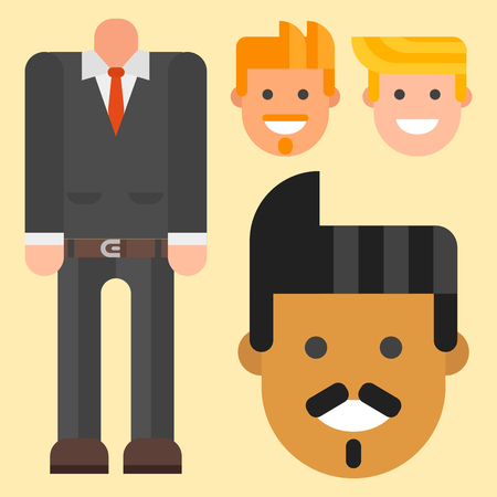 Man constructor elements body avatar icon creator. Vector Illustration trendy flat design cartoon character creation spare parts spares animation.