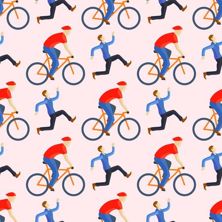 Rennend fietser in de fietsers naadloos patroon van de actie snel weg van zijvooraanzicht vectorillustratie. Atleet sport concurrentie motion zomer renner karakter. Geschikt pedaaltransport.