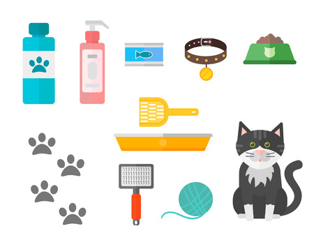 Colorful cat accessory and cute vector animal icons collection pet equipment elements food domestic feline illustration. Safety grooming design carry supplies and funny toys. Ilustração