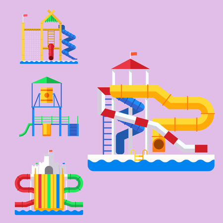 Water amusement aquapark playground with slides and splash pads for family fun vector illustration. Summer leisure and happy child swim fun childhood sport. Çizim
