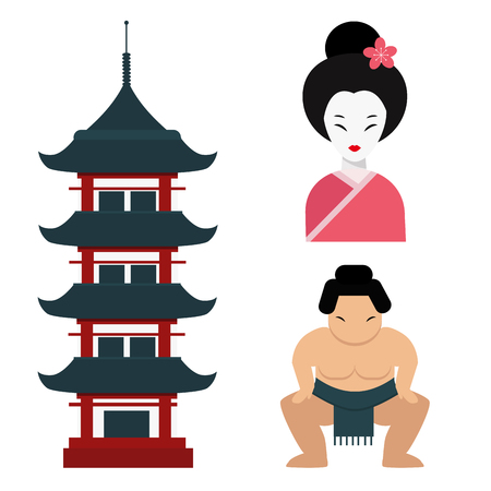 Symbols of famous tourist attraction in Asia. Illustration