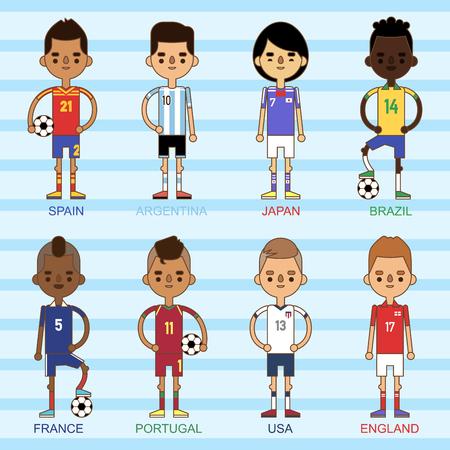 El ejemplo nacional de los equipos de fútbol del fútbol de la taza euro y el líder del capitán del jugador del juego del mundo en hombres del deporte del uniforme aislaron caracteres. Foto de archivo - 87051283