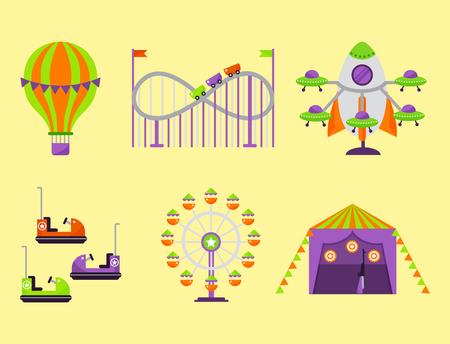 Carousels entertainment attraction side-show kids park construction illustration.