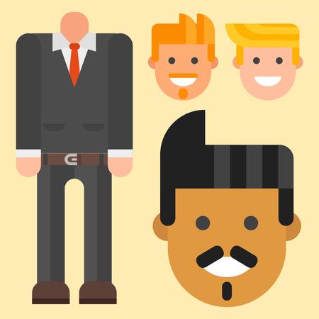 Man head avatar with formal attire. Illustration