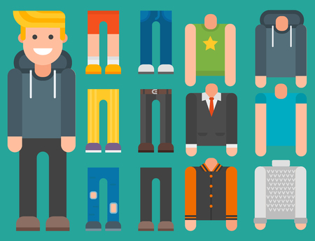 Man avatar with different clothes.