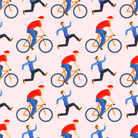Racing cyclist in action seamless pattern vector illustration. Ilustrace
