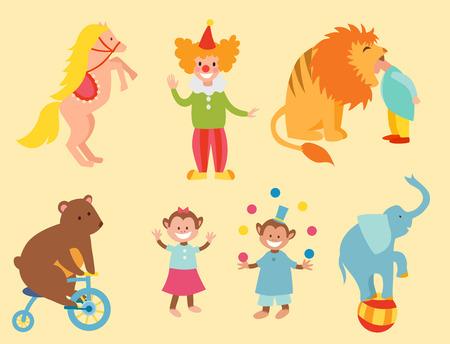 서커스 재미 있은 동물 벡터 아이콘 세트 쾌활한 동물원 엔터테인먼트 컬렉션 요술쟁이 애완 동물 마술사 수행자 카니발 그림입니다.