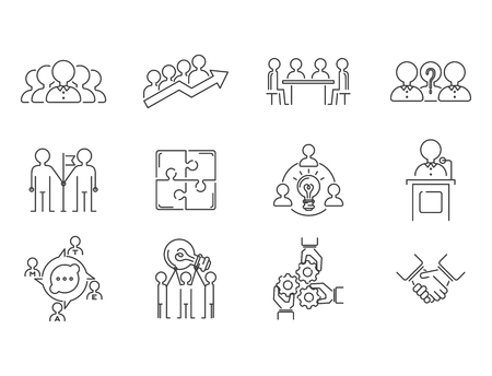 Business teamwork teambuilding thin line icons work command management outline human resources concept vector illustration Иллюстрация