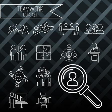 De bedrijfs van de teambuilding teambuilding dunne lijn pictogrammen werken van het het overzichtpersoneel van het bevelbeheer het concepten vectorillustratie