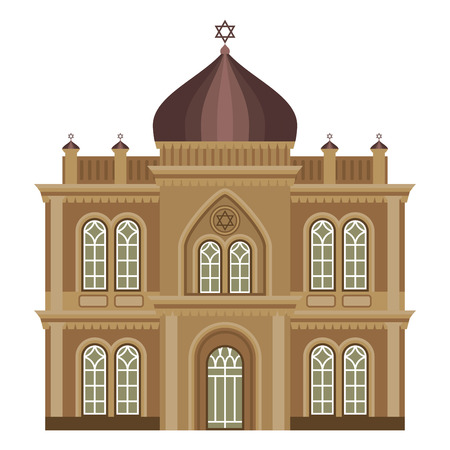 Cathedral and church traditional temple building landmark tourism vector illustration. World religions history place historic monument.