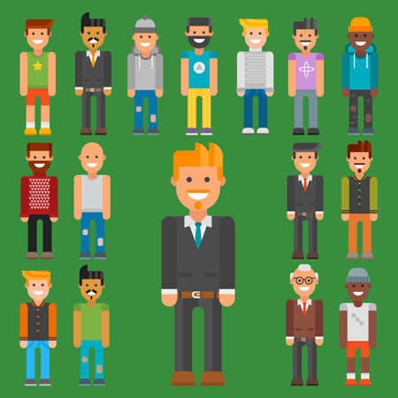 Group of men portrait different nationality friendship character team happy people young guy person vector illustration. Handsome teamwork casual fashion friends.