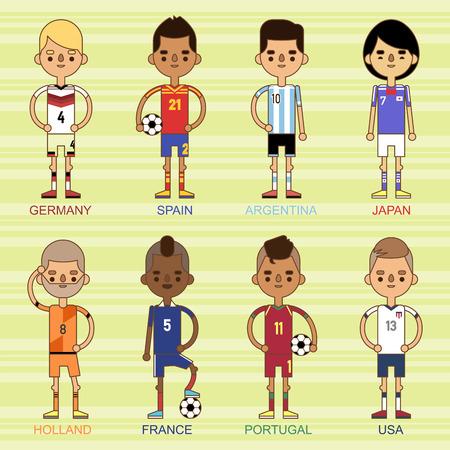 Los equipos nacionales del fútbol de la taza de euro vector el ejemplo y el líder del capitán del jugador del juego del mundo en hombres aislados del deporte aisló caracteres. Foto de archivo - 87399366