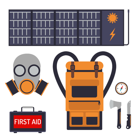 Survival kit di emergenza per l'evacuazione attrezzature vettoriali viaggi campeggio strumento backpacking turismo esplorazione escursionismo disastro Archivio Fotografico - 87334084