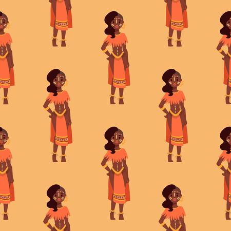 Maasai Afrikaanse mensen in van de traditionele achtergrond gelukkige persoon de naadloze vector vectorillustratie van patroonfamilies. Stock Illustratie