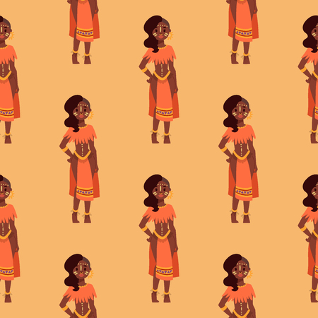 Maasai african people in traditional clothing happy person background seamless pattern families vector illustration.