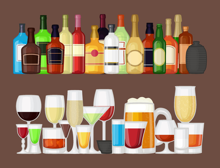 Alcohol drinks and different glasses illustration.