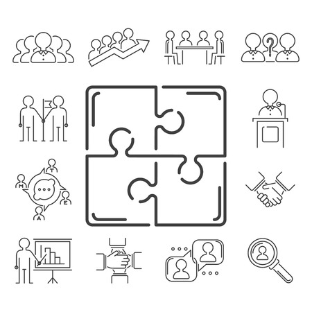 Business teamwork teambuilding thin line icons work command management outline human resources concept vector illustration Stock Vector - 87399375