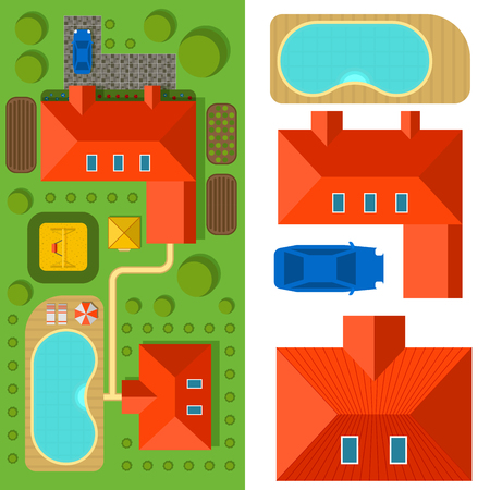 Plan of private house vector illustration top view of outdoor home landscape villa map constructor design building elements. Stock Vector - 87399378