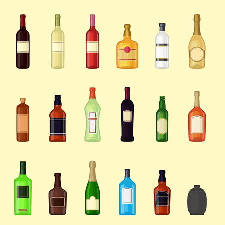 Alcohol drinks beverages cocktail bottle lager container drunk different glasses vector illustration.