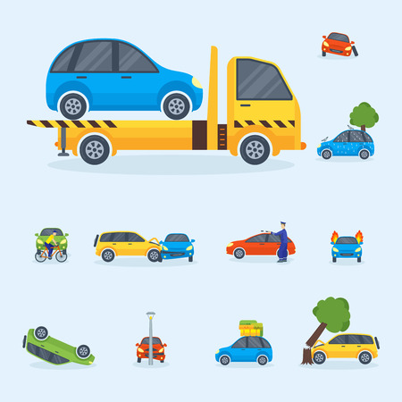 Different type of car accident illustration on a white background.
