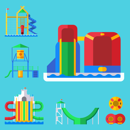 Water aquapark playground with slides and splash pads for family fun vector illustration. Illustration