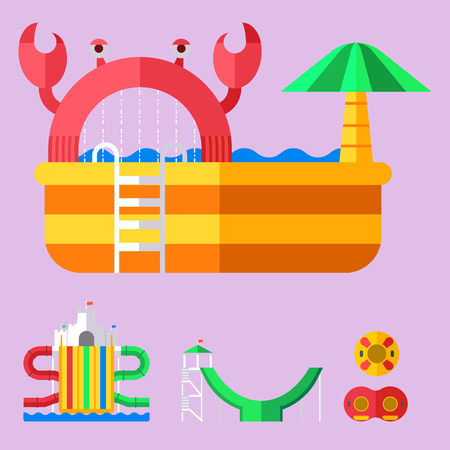 Water aqua park playground with slides and splash pads for family. Illustration