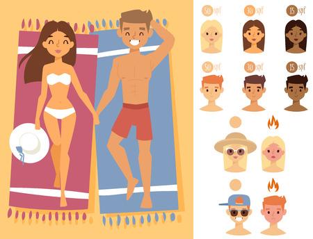 人日光日焼けビーチ アウトドア夏日焼け太陽文字は皮膚保護日焼けベクトル図です。
