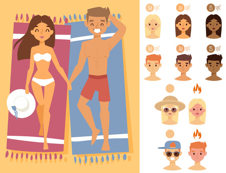 People sunshine tan beach outdoors summer suntan sun characters skin protection sunburn vector illustration.