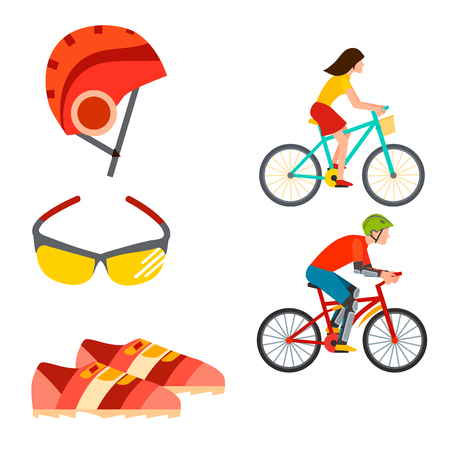 Active casual transportation accessories biking sport equipment lifestyle cycling flat vector bicycle equipment illustration.