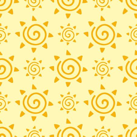 손으로 그린 노란 태양 행성 원활한 패턴 배경 스타 벡터 일러스트 레이션