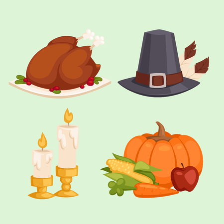 Happy thanksgiving day card design with holiday objects. Fresh food harvest autumn season thanksgiving day vector set. Traditional seasonal nature vegetable thanksgiving day pumpkin food. Ilustracja