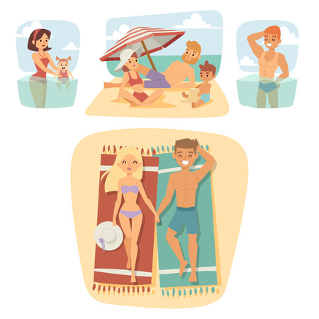 happy family: People on beach outdoors, summer lifestyle sunlight fun vacation happy time cartoon characters vector illustration.