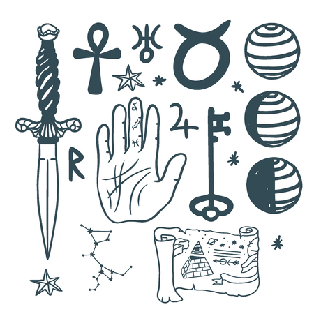 Trendy vector esoteric symbols sketch hand drawn religion philosophy spirituality occultism chemistry science magic illustration Stock Vector - 87399400