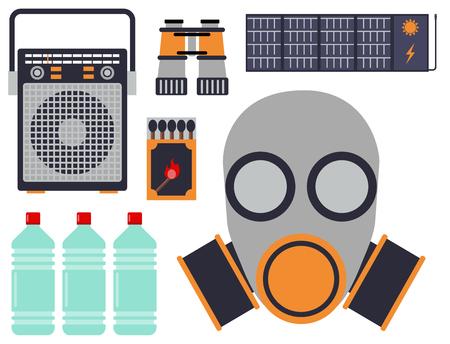 避難ベクトル オブジェクトに非常用救命セットは災害をハイキング旅行キャンプ道具バック パッキング探査観光機器の項目を設定します。