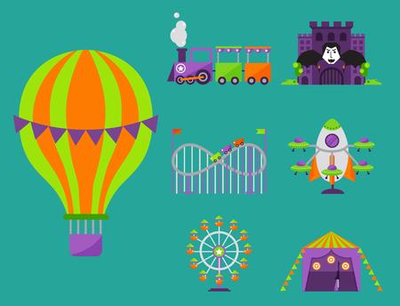 Slides and swings amusement park, ferris wheel attraction park. Carnival amusement leisure festival ride. Carousels entertainment attraction side-show kids park construction vector illustration.