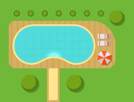 民家のベクトル図を計画します。屋外のホーム風景ヴィラ地図コンス トラクターのデザイン建築要素ベクトル ゲーム記号の平面図です。  イラスト・ベクター素材