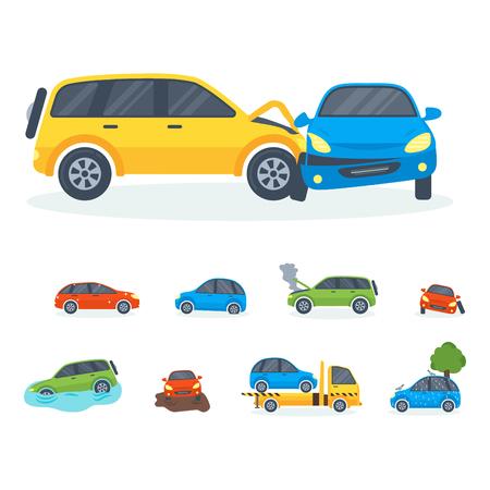 車衝突衝突交通保険安全自動車緊急災害や緊急災害スピード修理輸送ベクトル イラスト。自動車事故関係交通機関を壊れた。 写真素材
