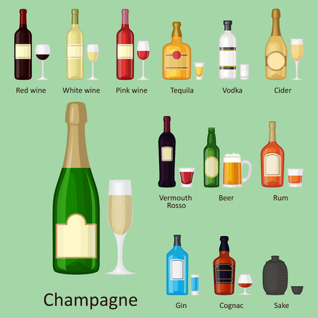 Collection of alcohol drinks beverages cocktail vector illustration.